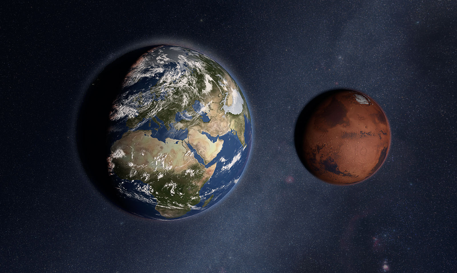 mars compared to earth size - HD1600×956
